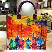 購物袋歐美油畫防水學生裝書拎文件拉鏈包大號容量手提環保購物袋子女包