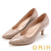 ORIN 典雅氣質 素面造型裁羊皮百搭尖頭高跟鞋-可可