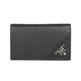 PRADA SAFFIANO Metal 灰色浮雕金屬LOGO全皮革名片夾零錢包(黑)