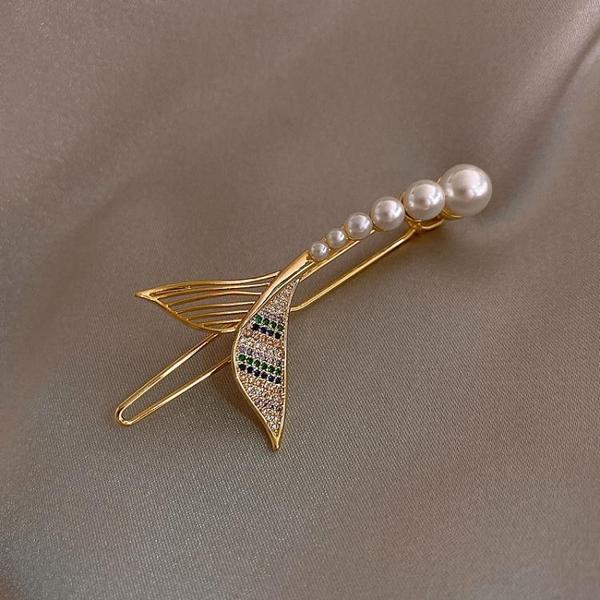 設計師美人魚珍珠髮夾邊夾網紅氣質劉海夾韓國髮飾頭飾一字夾頂夾 小天使