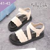 大尺碼女鞋-凱莉密碼-新款防髒全黑底波浪羅馬風厚底涼鞋4cm(41-43)【APK-5】米色