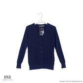 【INI】四季舒適、輕薄舒適織紋針織外套.深藍色