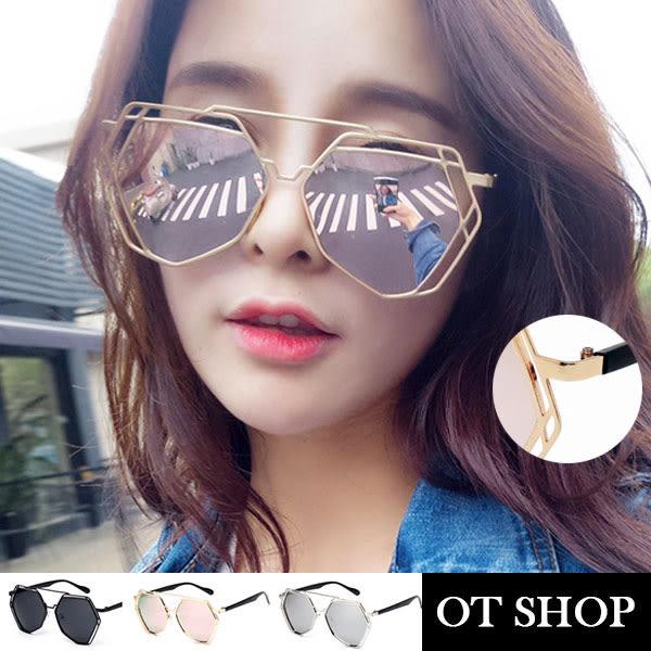 OT SHOP太陽眼鏡‧時尚風格全金屬細框鏡架不規則多邊形個性鏡片‧鼻墊加高款‧現貨三色N54