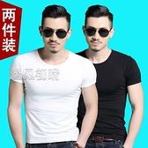 短袖上衣男2件高品質95%棉男士短袖t恤體恤純色白色純棉緊身打底衫半袖 快速出貨