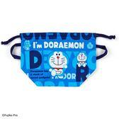 〔小禮堂〕哆啦A夢 日製棉質手提束口便當袋《深藍.文字》縮口袋.收納袋 4901610-58160
