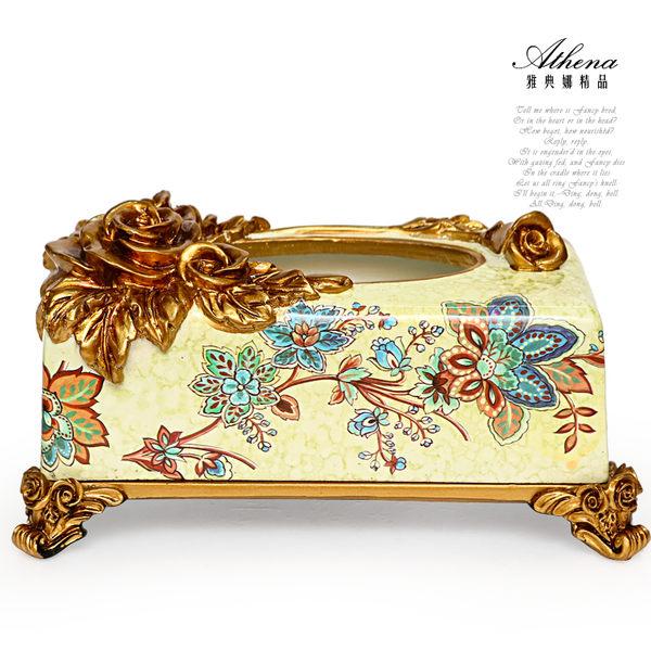 【雅典娜家飾】立體金玫瑰仿大理石紋復古紙巾盒-EB16