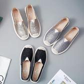 布鞋子女2019夏季新款韓版百搭一腳蹬平底漁夫懶人練車鞋女