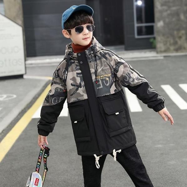迷彩中大童韓版外套羽絨服 加絨夾克外套兒童 男孩羽絨外套7Plus 風衣秋冬中長款棉衣