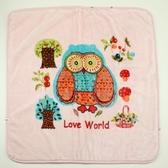 【愛的世界】貓頭鷹兩用式毛毯三角帽抱巾-粉/90*90CM  ---用品推薦