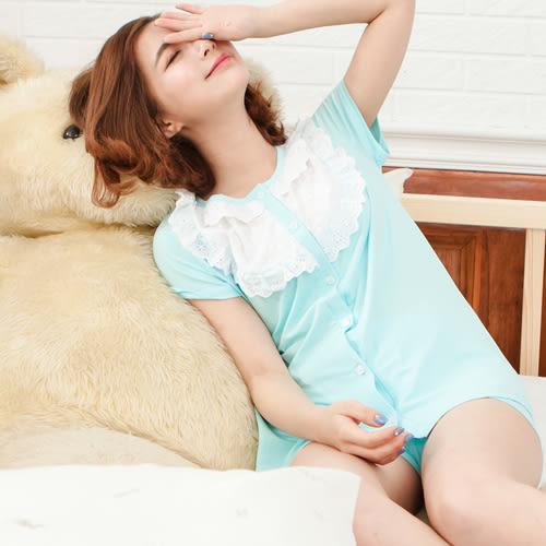睡衣透氣蕾絲圓領棉質前釦式成套休閒服 -藍-波曼妮亞