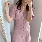 長洋裝 韓國ins元氣少女夏季小眾設計款低V領中長款收腰單排扣短袖洋裝