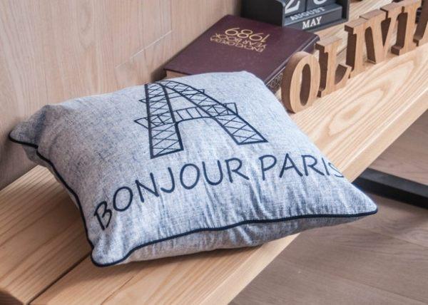 OLIVIA【奧斯汀】淺灰藍 巴黎艾菲爾鐵塔刺繡45X45CM抱枕套(含抱枕心)工業風格 100%精梳純棉 MIT
