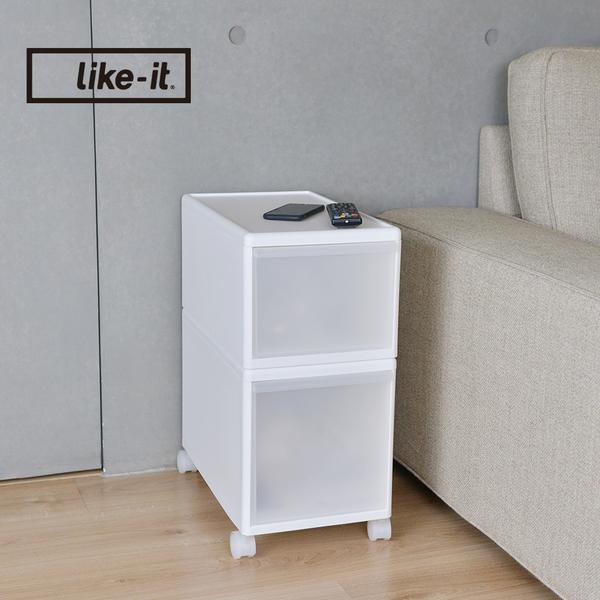 【日本like-it】UNI-COM自由疊砌抽屜附輪收納櫃(2入組)(1高1低)-寬25.5cm