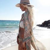罩衫 印花 雪紡 防曬 長裙 披肩 沙灘 比基尼 罩衫【ZS228】 ENTER  04/26