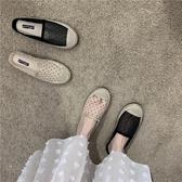 包頭拖鞋2020春夏外穿復古草編漁夫鞋波點仙女網紗包頭平底拖鞋女外穿半拖 貝芙莉
