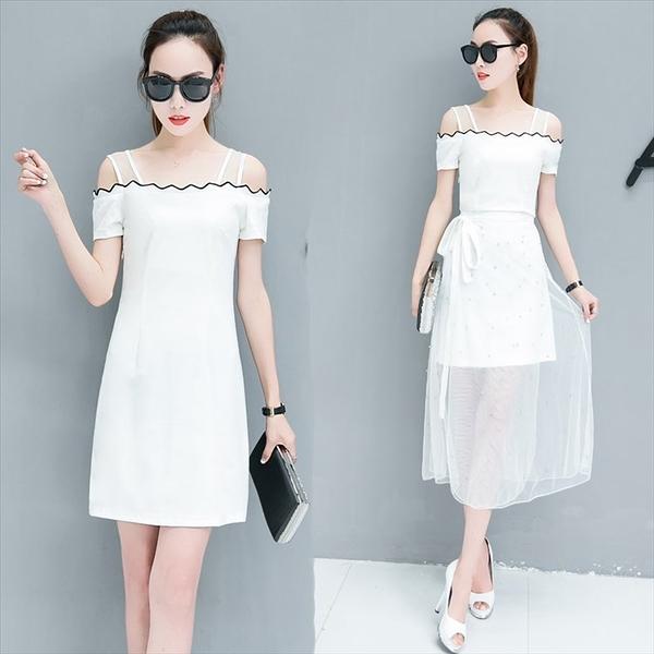 夏季 氣質拼接網紗兩件套長裙