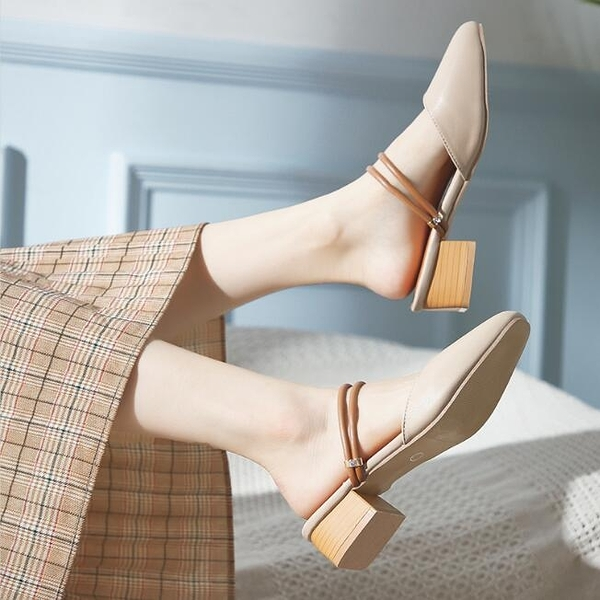 包鞋包頭涼鞋羅馬包頭兩穿涼拖2020年新款仙女風中跟粗跟半拖高跟鞋氣質小香風 快速出貨