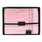 [ NG大放送 ]BURBERRY品牌字母條紋飾邊純棉浴巾(粉色)084731-2