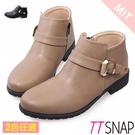 短靴-TTSNAP MIT率性單釦帶低跟踝靴 黑/駝
