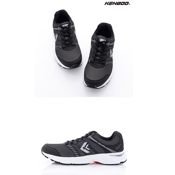 KENBOO(男)-大線條 網紋撞色透氣運動鞋-淺灰