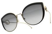 FENDI太陽眼鏡 FF0290S 8079O (黑金-漸層藍鏡片) 時尚貓眼造型款 # 金橘眼鏡
