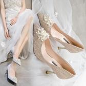 婚鞋 婚鞋2021新款韓版百搭高跟鞋結婚不累腳伴娘鞋水鉆細跟單鞋女尖頭  美物 99免運