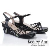 2019春夏_Keeley Ann細條帶 細帶鞋面花紋側邊楔型鞋(黑色) -Ann系列