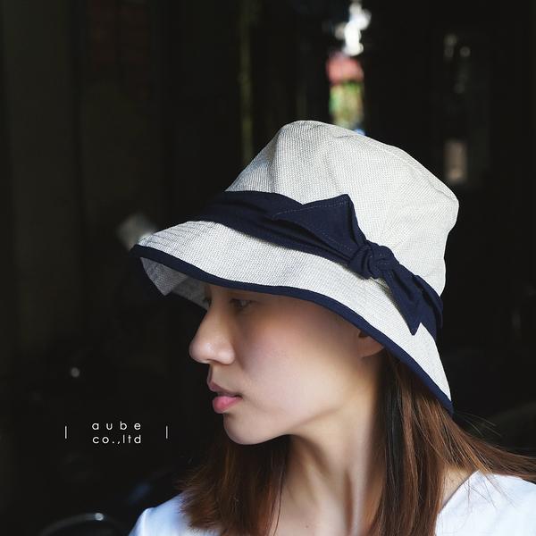 日本AUBE 配色蝴蝶結可折疊抗UV遮陽帽 防曬帽
