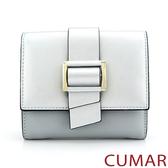 【CUMAR女包】金屬扣環三折短夾-銀灰色