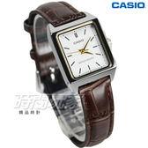 CASIO卡西歐 LTP-V007L-7E2 公司貨 簡約真皮石英錶 指針錶 女錶 學生錶 防水 白x咖啡 LTP-V007L-7E2UDF