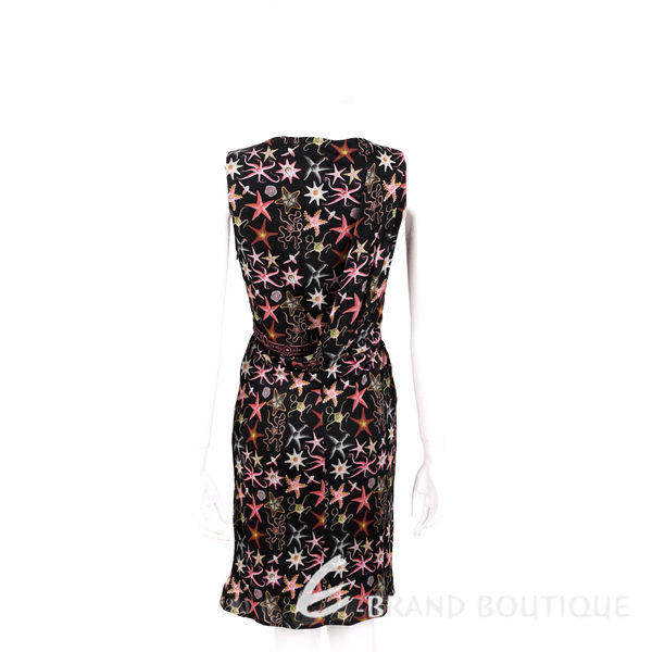 VERSACE 黑色珊瑚海星印花V領無袖洋裝 1620331-01