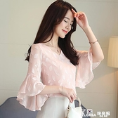 2021年夏季雪紡衫女七分袖洋氣時尚韓版超仙氣質喇叭短袖打底上衣