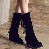 中筒靴 韓版秋冬中長高筒靴女平底內增高流蘇靴雪地靴棉原宿馬丁磨砂皮跟 寶貝計畫