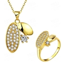 玫瑰金銀飾套裝含項鍊+戒指-可愛鑲鑽生日情人節禮物女飾品2色73bv11[時尚巴黎]