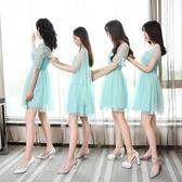 2020新款韓版小禮服伴娘團姐妹裙網紗中袖包肩抹胸