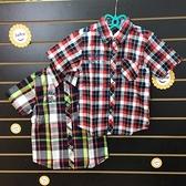 ☆棒棒糖童裝☆(90856)夏男大童氣質格子款襯衫 15-25  綠;紅
