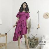正韓時尚復古chic不規則荷葉邊系帶設計一字領露肩連身裙