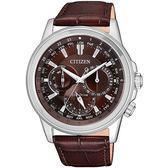 【台南 時代鐘錶 CITIZEN】星辰 光動能 三眼世界時區商務風格腕錶 BU2020-29X 皮帶 咖啡 44mm