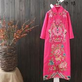 棉麻盤扣寬鬆大碼長款旗袍長裙子