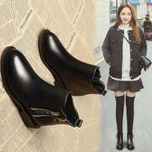 馬丁靴女2019秋冬季新款網紅瘦瘦小短靴平底百搭英倫加絨短筒靴子