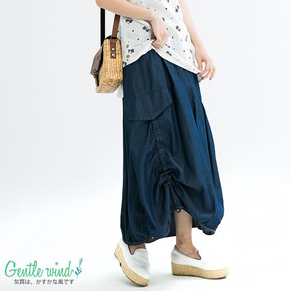 單寧抽繩襬長裙(2色)-F【Gentle wind 輕輕.吹】