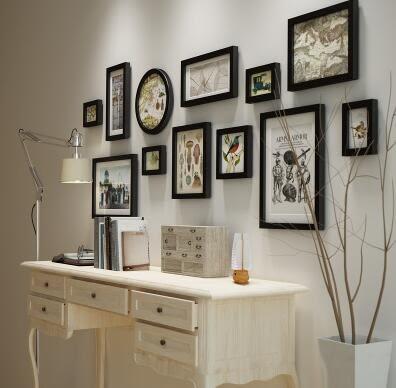 高端實木照片牆現代簡約相框牆創意家居背景牆裝飾組合相框2135