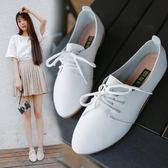 小皮鞋女  夏季新款平底小白鞋繫帶尖頭韓版休閒單鞋女時尚新款學生女鞋·夏茉生活