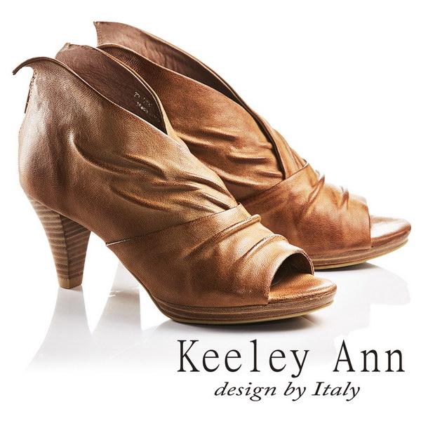 2017春夏_Keeley Ann獨立性格~時髦質感抓皺V字型全真皮魚口高跟鞋(棕色)