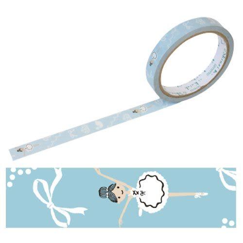 ★funbox生活用品★《Shinzi Katoh 加藤真治》芭蕾女孩OPP裝飾膠帶15mm(藍) ZI01780