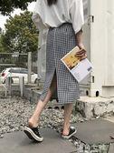 ins超火的 新款夏季中長款開叉顯瘦格子高腰半身包臀裙女學生 海角七號