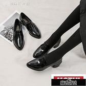 唐晶同款單鞋女百搭英倫風女鞋粗跟尖頭小皮鞋樂福鞋KLBH57098【全館免運】