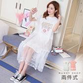 【MK0035】兩件式美式風格圖案荷葉袖網紗洋裝