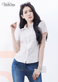 Victoria 襯衫領縫寶石透視布短袖襯衫-女-白/黑