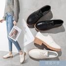 英輪小皮鞋 牛津繫帶小皮鞋女英倫風學院中跟粗跟黑色2020新款單鞋女工作鞋女
